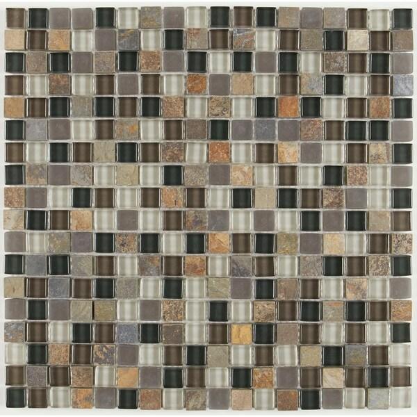 Shop Slate And Glass Blend 5 8x5 8 Inch Random Mosaic Tile