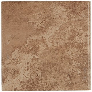 Travertine Replica 6x6-inch Ceramic Bullnose in Truffle Field - 6x6