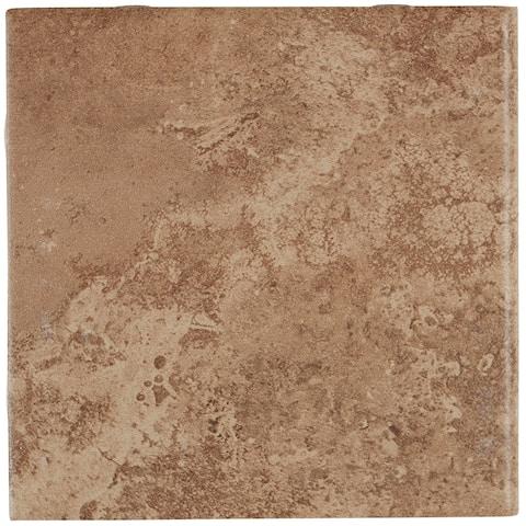 Travertine Replica 6x6-inch Ceramic Bullnose in Truffle Field - 6x6
