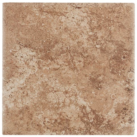 Travertine Replica 6x6-inch Ceramic Wall Tile in Truffle Field - 6x6