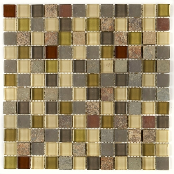 Shop Slate And Glass Blend 1x1 Inch Mosaic Tile In Cactus