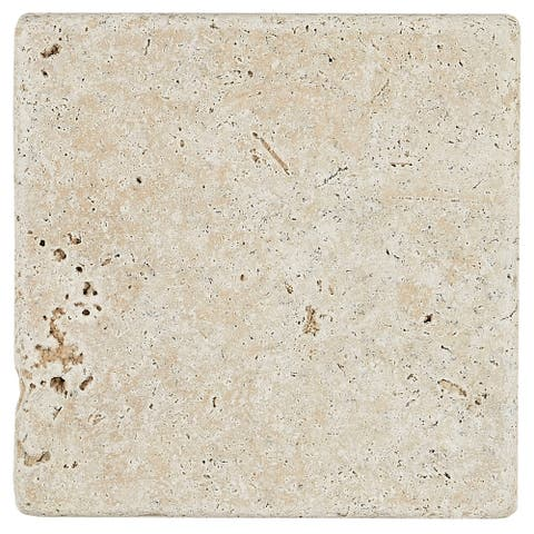 Travertine Stone Tile 4x4-inch Tumbled in Mediterranean Ivory - 4x4