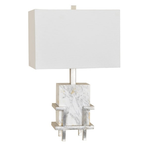 Dumont White and Silver Leaf 24-inch Table Lamp
