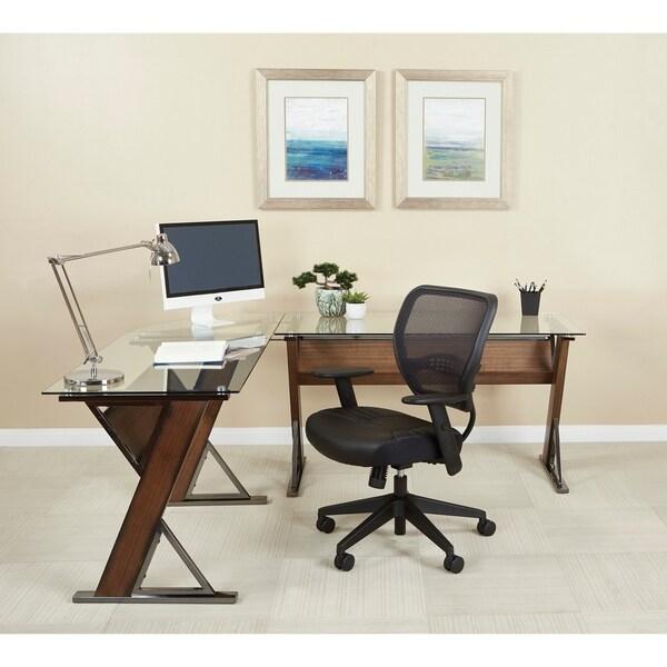 Eureka Home Office Caramel Wood Desk with Corner Return - Free ...
