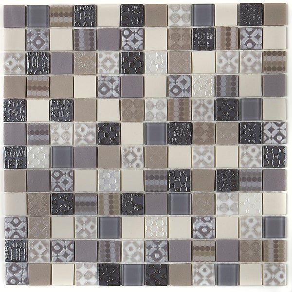 Shop Molten Glass Mosaic 1x1 Inch Mesh Mounted Tile In