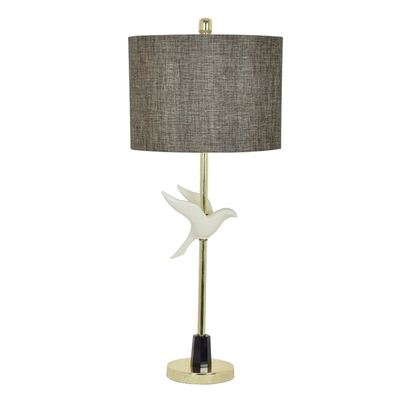 In Fight Polished Brass and Off-white 33.5-inch Table Lamp