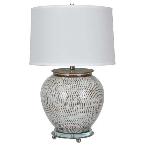 Lise Aged White and Satin Nickel 29-inch Table Lamp
