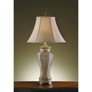 Cypress Pickled Pine and Green 32-inch Table Lamp