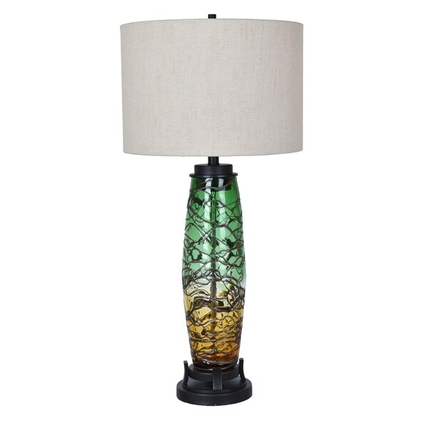 Harlow Amber and Green 34.5-inch Table Lamp