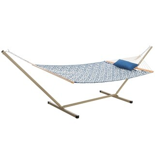 Castaway Quilted Navy Blue Hammock Combo with Stand