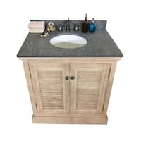 "31""Rustic Solid Fir Single Sink Vanity in Driftwood Finish with Polished Textured Surface Granite Top-No Faucet"