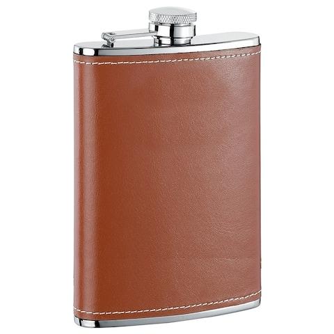 Visol Bobcat X Brown Leather Liquor Flask - 8 ounces