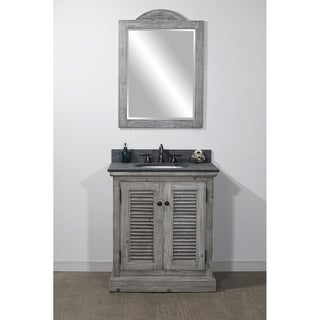 "31""Rustic Solid Fir Single Sink Vanity in Grey-Driftwood Finish with Polished Textured Surface Granite Top-No Faucet"