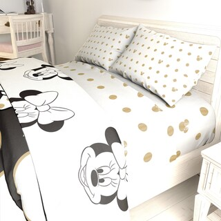 Disney Minnie Mouse Icon and Dots 4 Piece Full Sheet Set