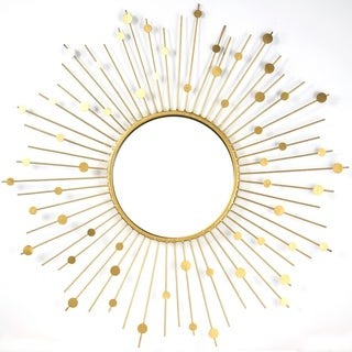American Art Decor Gold Metal Sunburst Wall Vanity Mirror