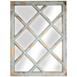 Link to American Art Decor Window Pane Wall Vanity Mirror (Teal) - Multi - A Similar Items in Mirrors