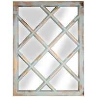 American Art Decor Window Pane Wall Vanity Mirror (Teal) - Multi - A/N