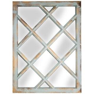 American Art Decor Window Pane Wall Vanity Mirror (Teal)