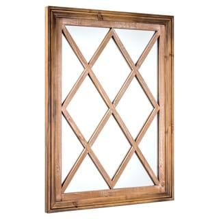 American Art Decor Window Pane Wall Vanity Mirror - Brown - A/N
