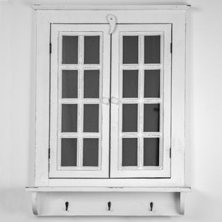 American Art Decor Window Shutter Wall Mirror with Hooks - White - A/N