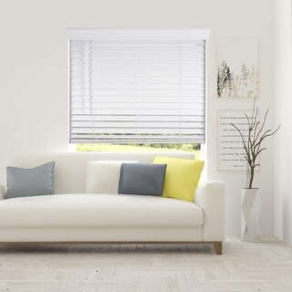 Arlo Blinds White Cordless Lift Faux Wood Blinds with Royal Valance