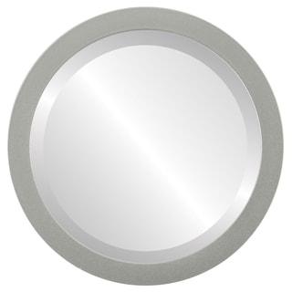 Manhattan Framed Round Mirror in Bright Silver