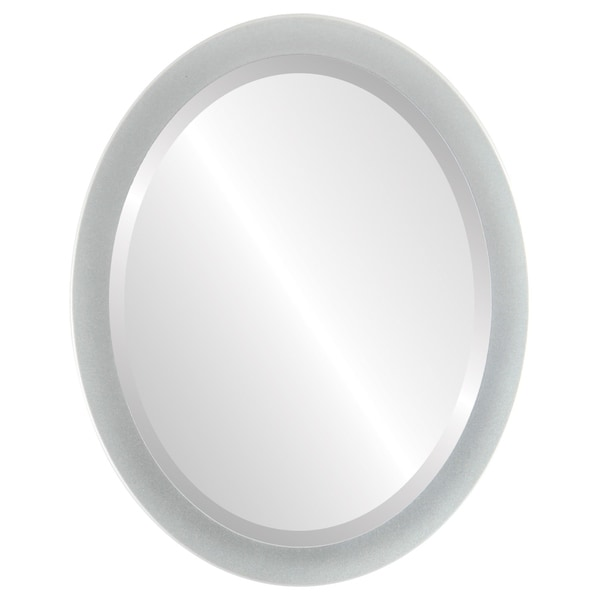 Manhattan Framed Oval Mirror in Bright Silver