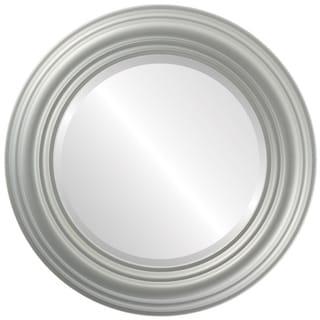 Regalia Framed Round Mirror in Bright Silver