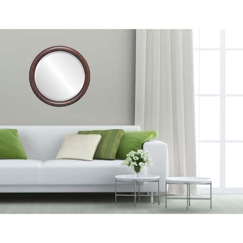Pasadena Framed Round Mirror in Vintage Cherry