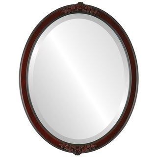 Athena Framed Oval Mirror in Vintage Cherry