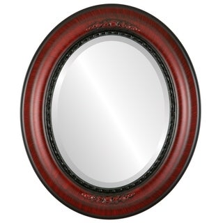 Boston Framed Oval Mirror in Vintage Cherry