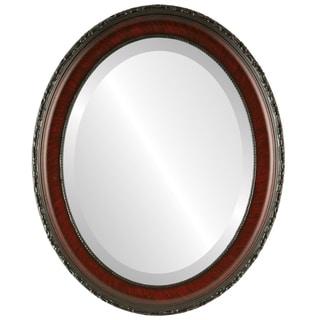 Kensington Framed Oval Mirror in Vintage Cherry