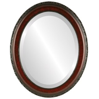 Kensington Framed Oval Mirror in Vintage Cherry