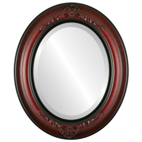 Winchester Framed Oval Mirror in Vintage Cherry