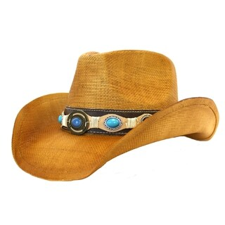 Mabel - 100% Organic Paper Straw Brown Stiff Cowboy Drifter Style Hat Old Stone - AH-398-LBR