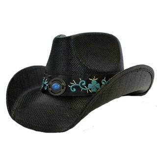 Flora - 100% Organic Paper Straw Stiff Black Cowboy Drifter Style Hat Old Stone - AH-397-BK