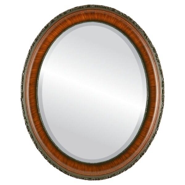 Shop Kensington Framed Oval Mirror in Vintage Walnut - Free Shipping ...