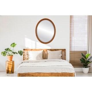 Pasadena Framed Oval Mirror in Vintage Walnut