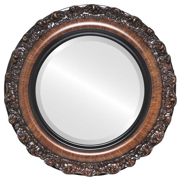 Shop Venice Framed Round Mirror in Vintage Walnut - Free Shipping ...
