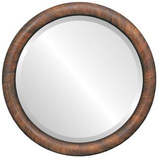Pasadena Framed Round Mirror in Vintage Walnut