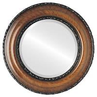 Somerset Framed Round Mirror in Vintage Walnut