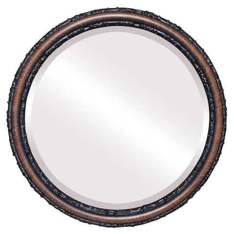 Virginia Framed Round Mirror in Vintage Walnut