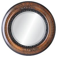 Boston Framed Round Mirror in Vintage Walnut
