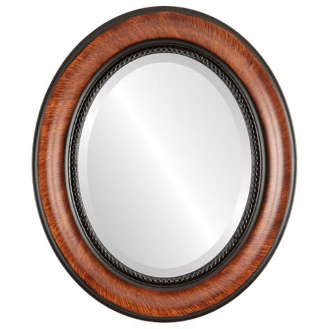 Heritage Framed Oval Mirror in Vintage Walnut