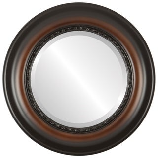 Chicago Framed Round Mirror in Walnut
