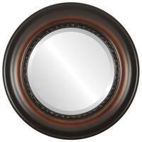 Chicago Framed Round Mirror in Walnut