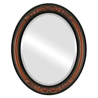 Florence Framed Oval Mirror in Vintage Walnut