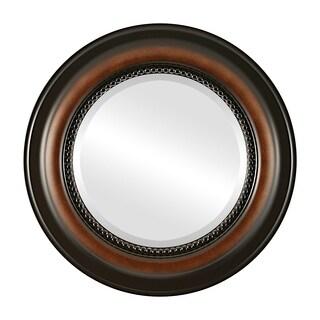 Heritage Framed Round Mirror in Walnut