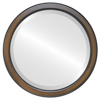 Toronto Framed Round Mirror in Walnut