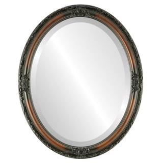 Jefferson Framed Oval Mirror in Walnut